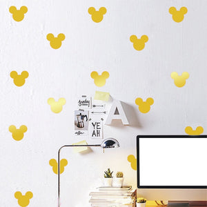 Wall Sticker For Kids Room Cute Minnie Mouse  88pcs/set Cartoon Mickey Mouse Head Shape Poster Self-adhesive Label Wall Decals