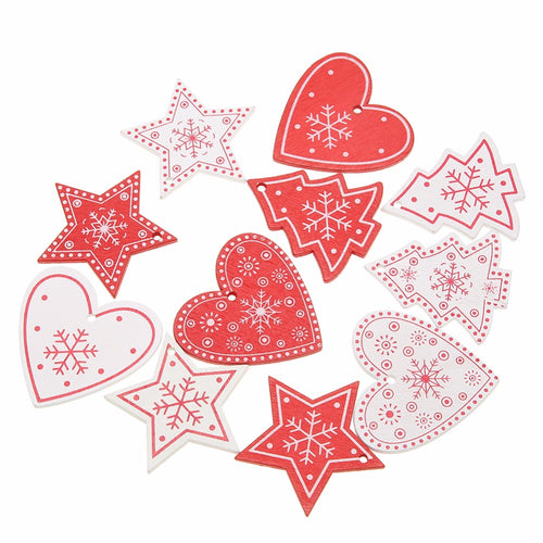 Gifts Decorations White Red 10PCS DIY Tree/Heart/Star Wooden Pendants Ornaments For Christmas Party Xmas Tree Ornaments Kids