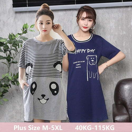 Sleep Dress Lovely Cartoon Cat Sleepshirt Womens Summer Short Sleeve Plus Size Lady Nightdress Young Girl Night M-5XL