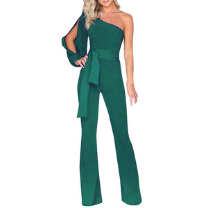 Clubwear Wide Leg Jumpsuit fashion Women bodysuit Women Summer Casual Solid Long Sleeve Cold Shoulder Jumpsuit