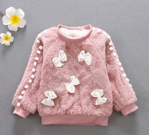 Children fashion bow sweater coat girls winter sweater girl long sleeve clothes kids winter sweater for girls