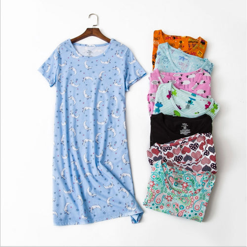 Women Casual Cartoon nightgown Ladies 100%Cotton 2019 Summer Brand Homewear nightdress Female Round collar Plus size sleep dress