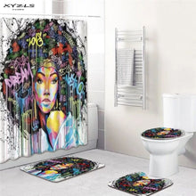 Load image into Gallery viewer, Polyester Bathroom Curtain 180x180cm With Bathroom Mat Set African American Shower Curtains Set