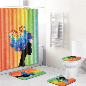 Polyester Bathroom Curtain 180x180cm With Bathroom Mat Set African American Shower Curtains Set