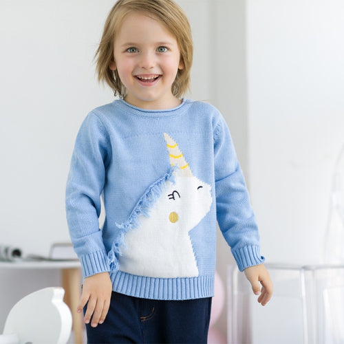 Autumn Unicorn Sweater Baby Girls Sweaters  Fashion Girls Kids Sweater Print Cartoon Sweater for Toddler Children Clothing