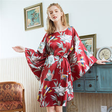 Load image into Gallery viewer, Night Bath Dress Gown Satin Sleep Shirt Summer Women Nightgown Print Sleepwear   Sexy Nightshirt Home Clothes Intimate Lingerie