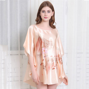 Night Bath Dress Gown Satin Sleep Shirt Summer Women Nightgown Print Sleepwear   Sexy Nightshirt Home Clothes Intimate Lingerie