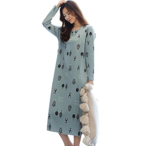 Cotton nightdress women print spring autumn nightgowns female long sleeve sleep dress women's nightshirt 3XL  Plus size