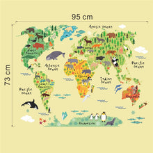 Load image into Gallery viewer, Animals world map wall decals for kids rooms home decorations pvc wall stickers