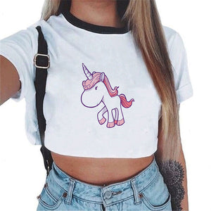 T-shirt Female Summer Crop Top Tshirt Licorne Sexy Tees Cropped Funny Unicorn T Shirt Women Tops   Unicornio