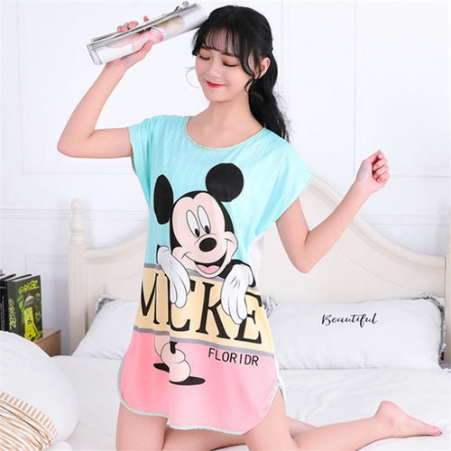 Mickey Mouse Night Sleep Dress Women Cartoon Round Neck Girls Cute Short Womens Nightgown Sleepwear Free Shipping