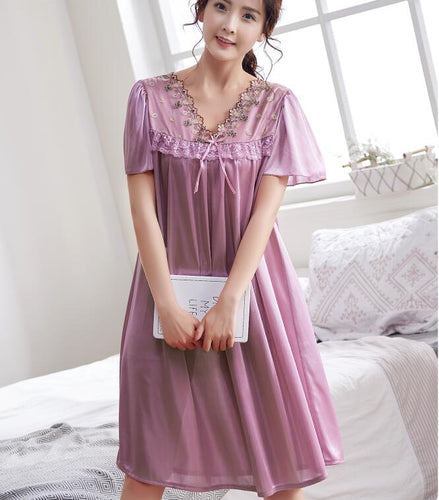 Satin Silk Lace Embroidery Lingerie Sexy Loose Nightgown Women Oversized Nightgown Shirt Dress Sleep Ropa Dress PLUS SIZE 5XL
