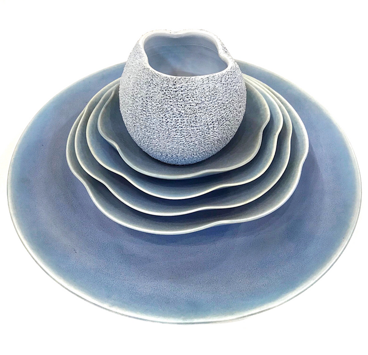 Stacked Bowls with Blue Vase / Bobby Silverman