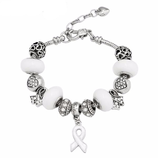 Handmade Breast Cancer Awareness Charm Bracelet - 20CM