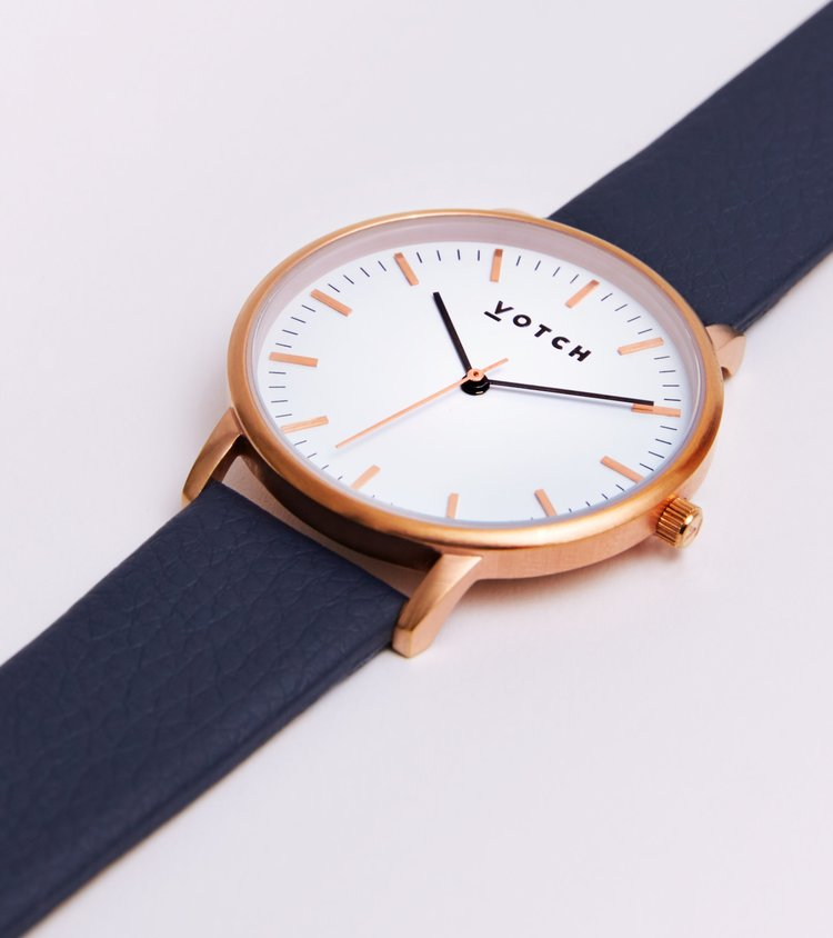 VOTCH NEW COLLECTION - ROSE GOLD AND WHITE WITH NAVY STRAP