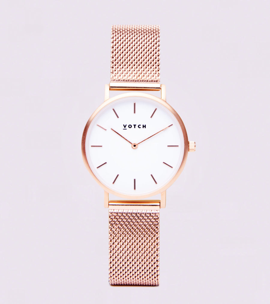 VOTCH MESH - ROSE GOLD AND WHITE WITH ROSE GOLD STRAP