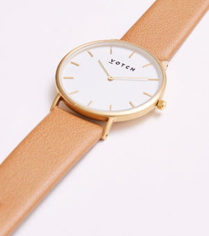 VOTCH CLASSIC - GOLD AND WHITE WITH TAN STRAP