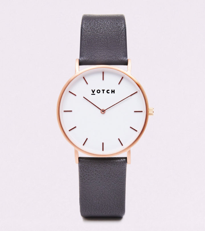 VOTCH CLASSIC - ROSE GOLD AND WHITE WITH DARK GREY STRAP