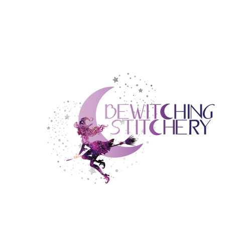 logo featuring witch flying on broom with purple gradient