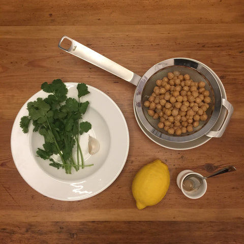 Cilantro hummus ingredients