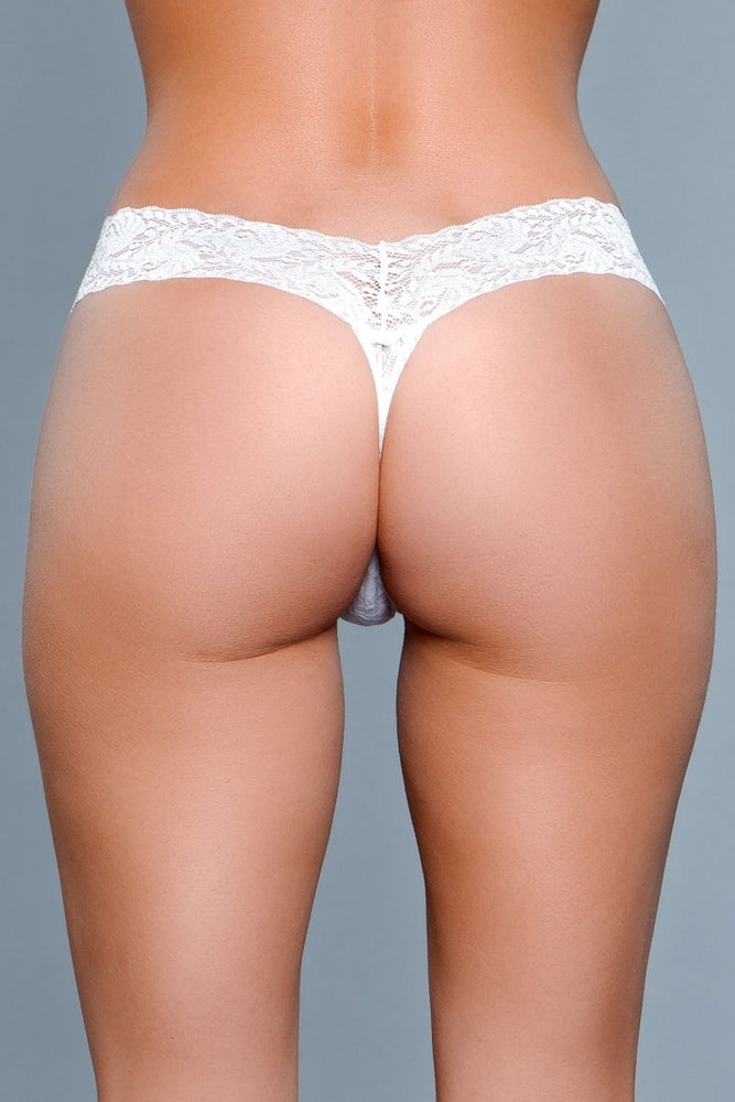 BW1160W V Cut Lace Panties - White