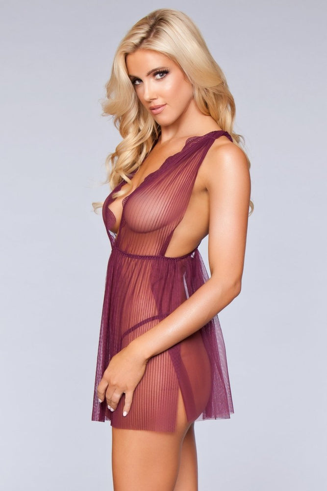1801 Sweet Dreams Babydoll Burgundy