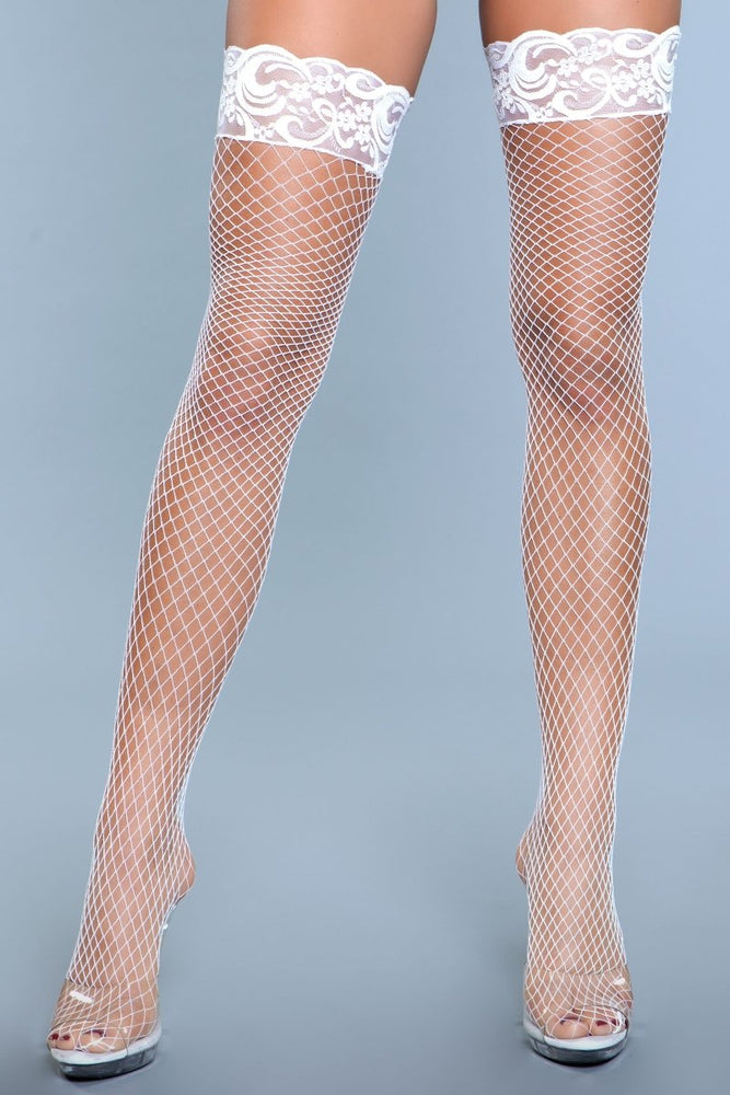 1916 Amber Lace Top Fishnet Thigh Highs White