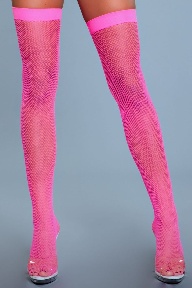 1931 Nylon Fishnet Thigh Highs Neon Pink