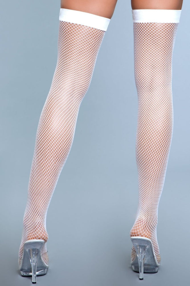 1931 Nylon Fishnet Thigh Highs White