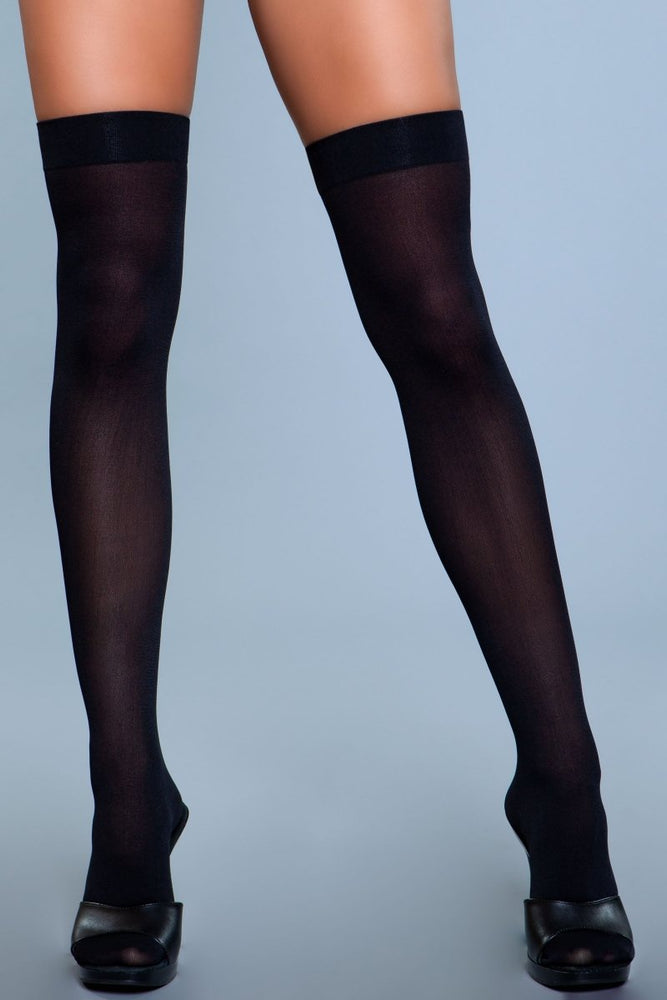 1932 Opaque Nylon Thigh Highs Black