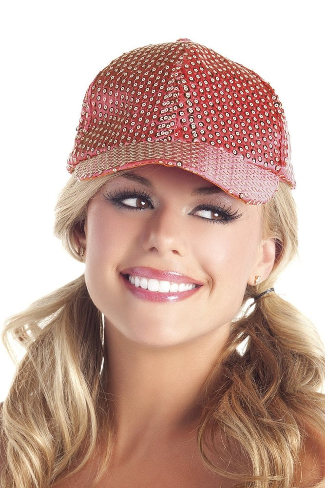 BW0709RD Sequin Basbeall Hat - Red
