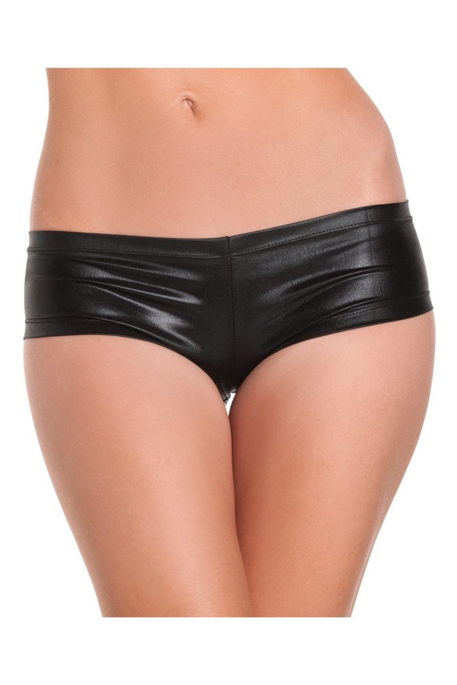 BW1020BK Shiny Lycra Booty Shorts - Black