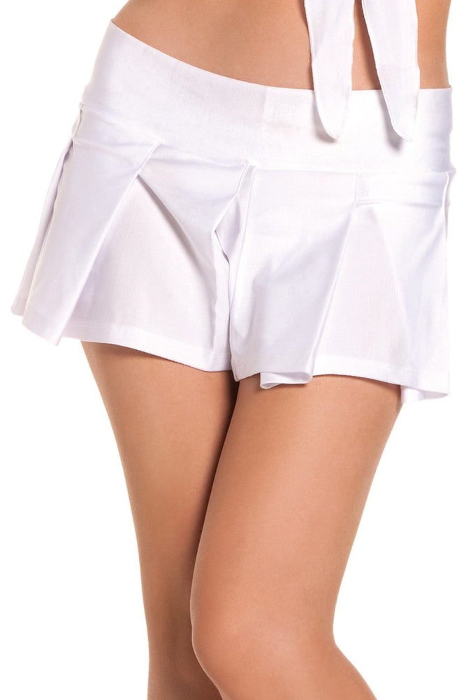 BW1024W Pleated School Girl Skirt - White