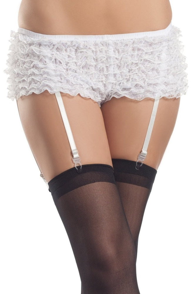 BW1076WW Ruffled Garter Shorts - White