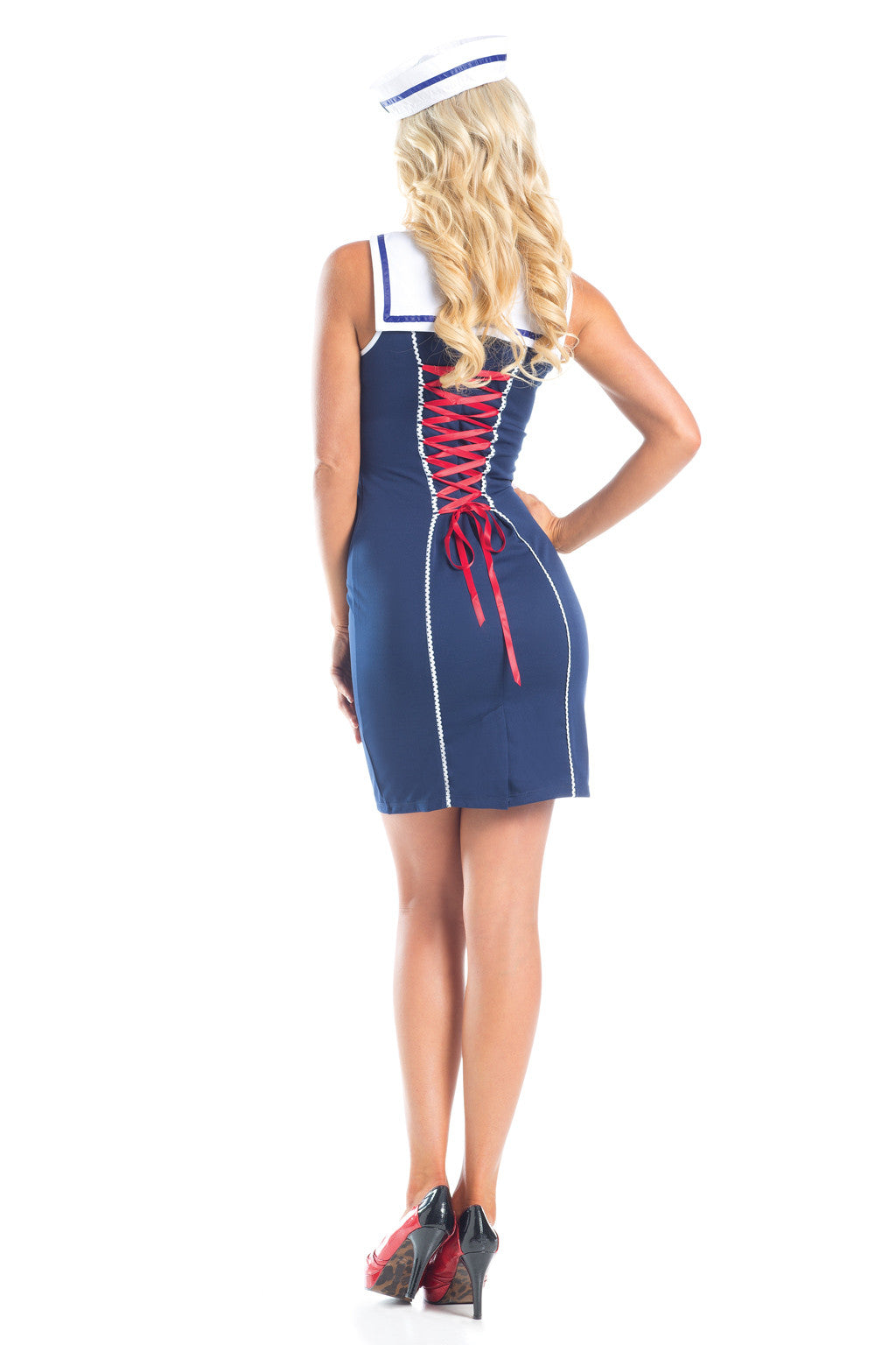 Be Wicked BW1563 3 Piece Chief Of The Boat BW1563 S/M Blue, Large, Medium, Red, Retro, Sailor, Small, Uniform, White, women's costumes