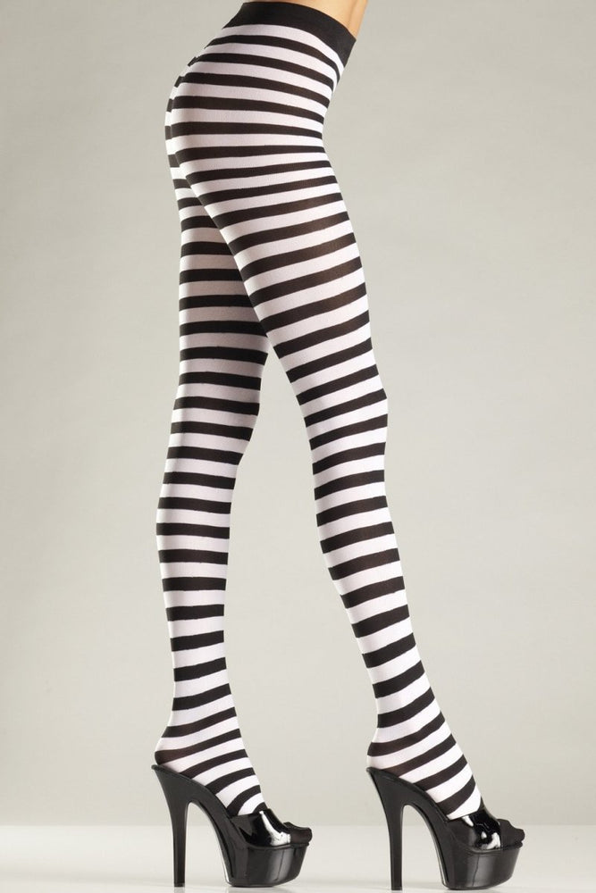 BW517W Seamingly Striped Pantyhose White