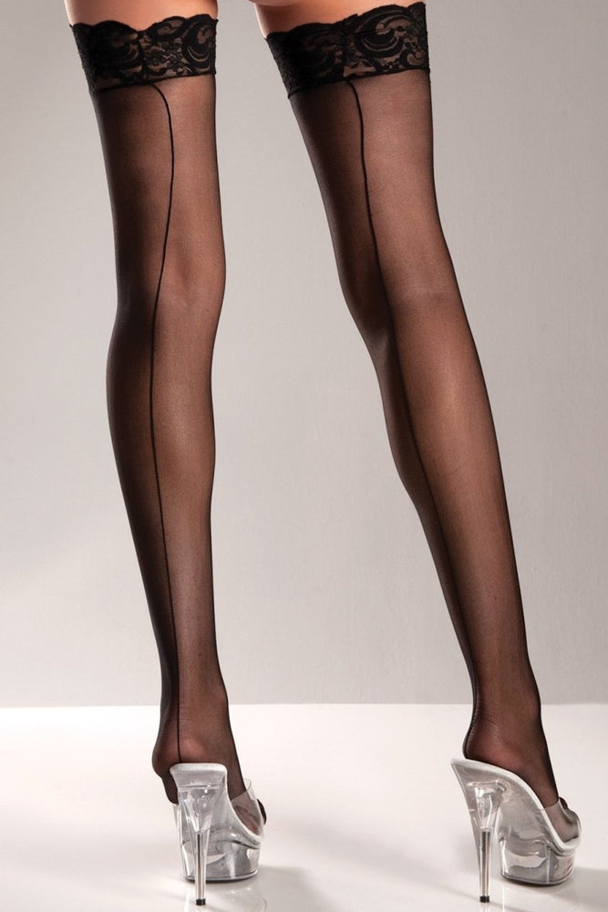 BW599 Sheer Lace Top Thigh Highs