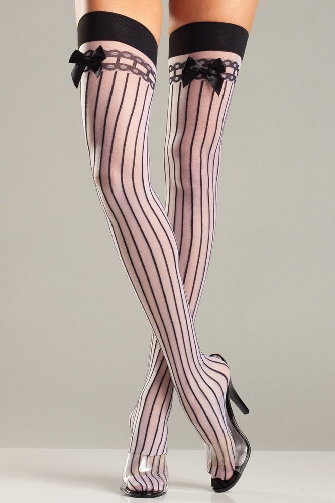 BW643 Stripes And Satin Thigh Highs