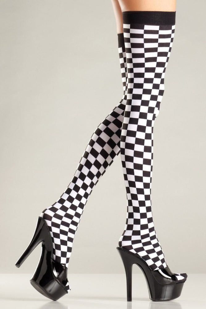 BW674 Checkerboard Thigh Highs