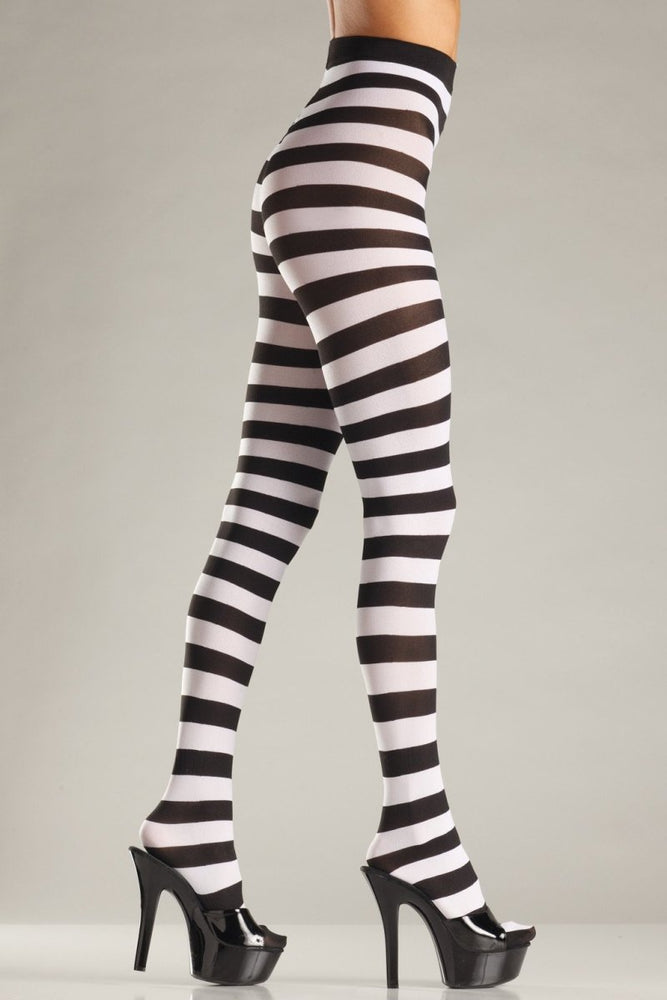 BW679BW Wide Striped Pantyhose - Black/White
