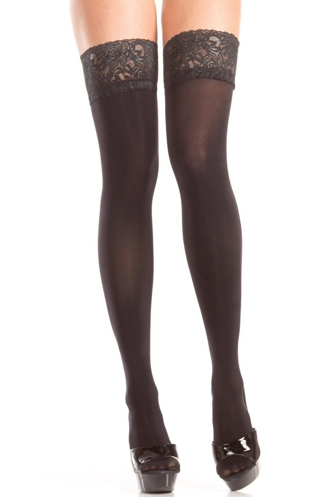 BW795 Opaque Lace Top Thigh Highs