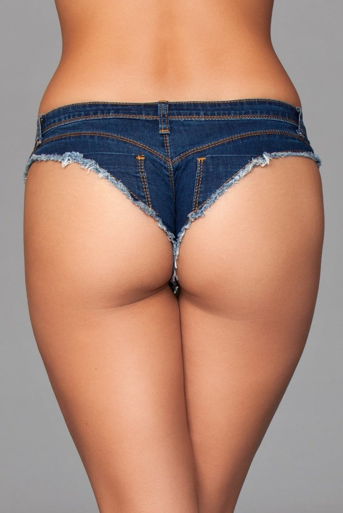 J8BL Buns Out Cheeky Shorts - Dark Wash