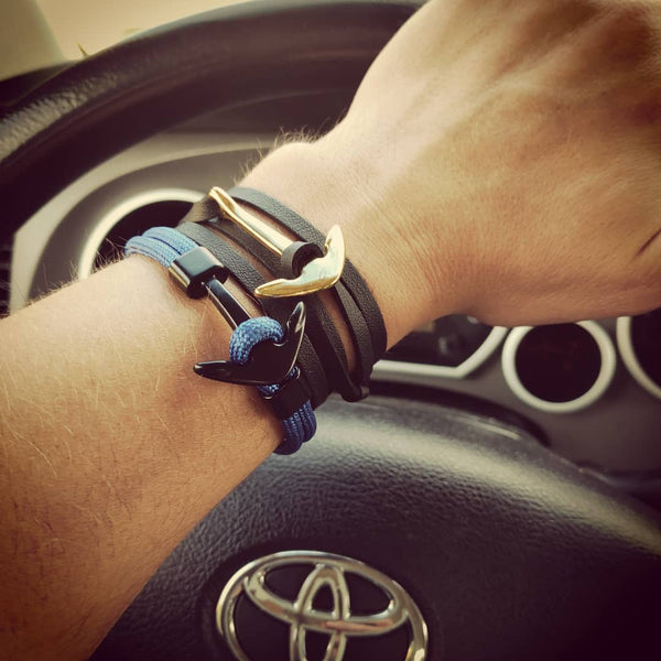 FREE Gold Anchor Leather Bracelet