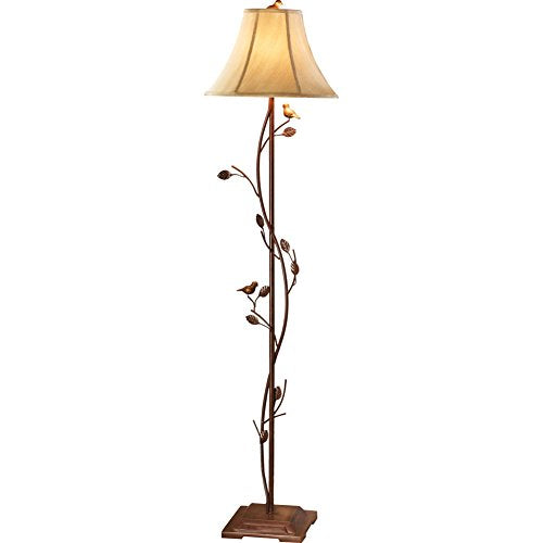 Antique Birds & Vines Floor Lamp, Brown