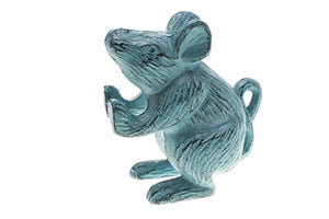 Cast Iron Mouse Decorative Door Stop | Door Wedge | Unique, Antique Design (Rustic Blue)