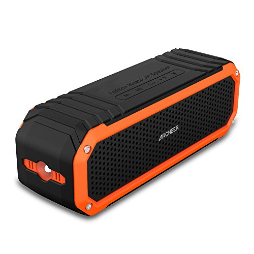 Archeer A226 Portable Bluetooth Speaker with Bass, Clip, Microphone and Flashlight - Black/Orange