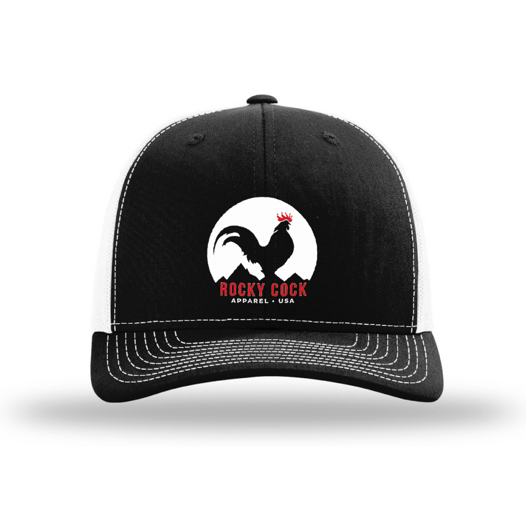 Mens Adjustable Trucker Hat | Rocky Cock Apparel Black and White Classic Rooster Style