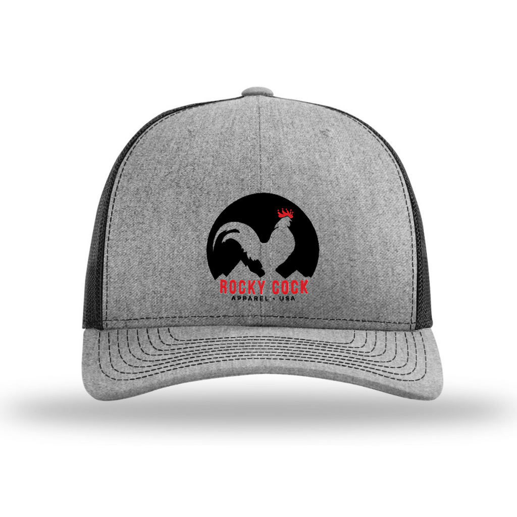 Men's Adjustable Trucker Snapback Hat (Black and White Classic Rooster Front View) | Rocky Cock Apparel