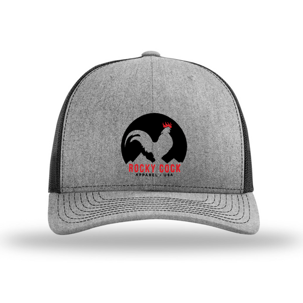 6296c70e415 Men s Adjustable Trucker Snapback Hat (Black and White Classic Rooster  Front View)