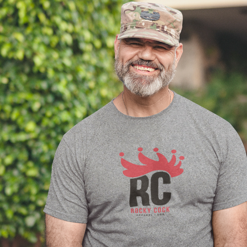 Men's Comfy Graphic Tshirt | Royal Crown Red on Gray Rocky Cock Tee